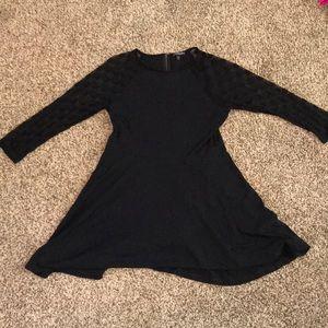 Express Skater Dress with Sheer Polka Dot Sleeves